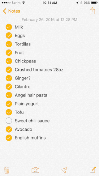 Grocery List 2-26