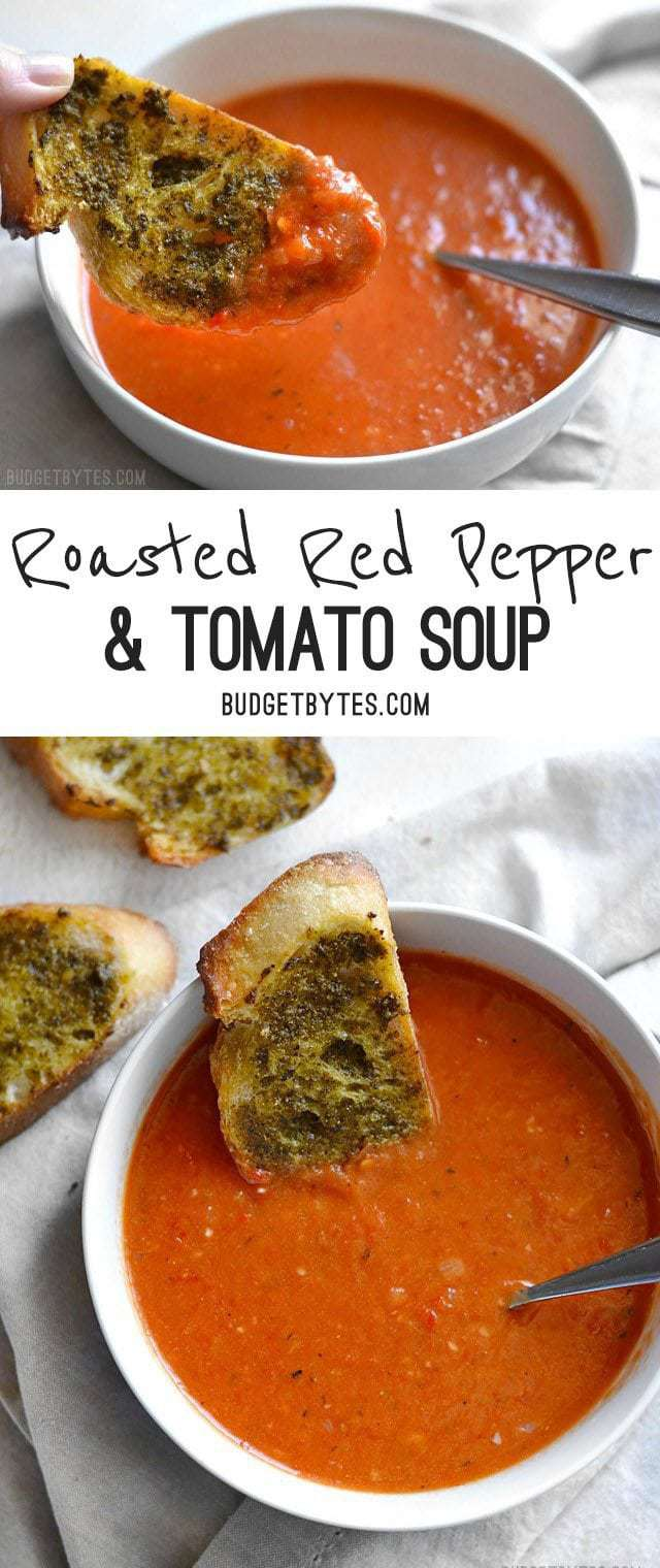 Roasted Red Pepper and Tomato Soup is a fast and rich weeknight ...
