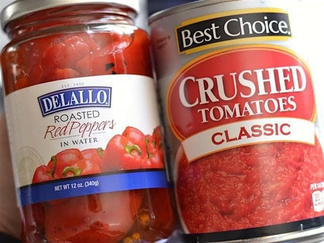 Roasted Red Peppers jar and can of Crushed Tomatoes