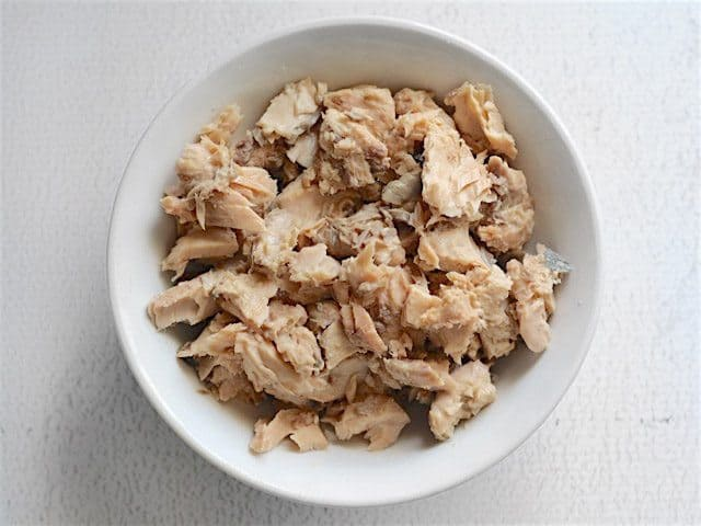 Canned Salmon Pieces in a bowl