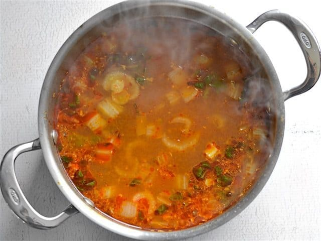 Simmer Vegetables in Broth