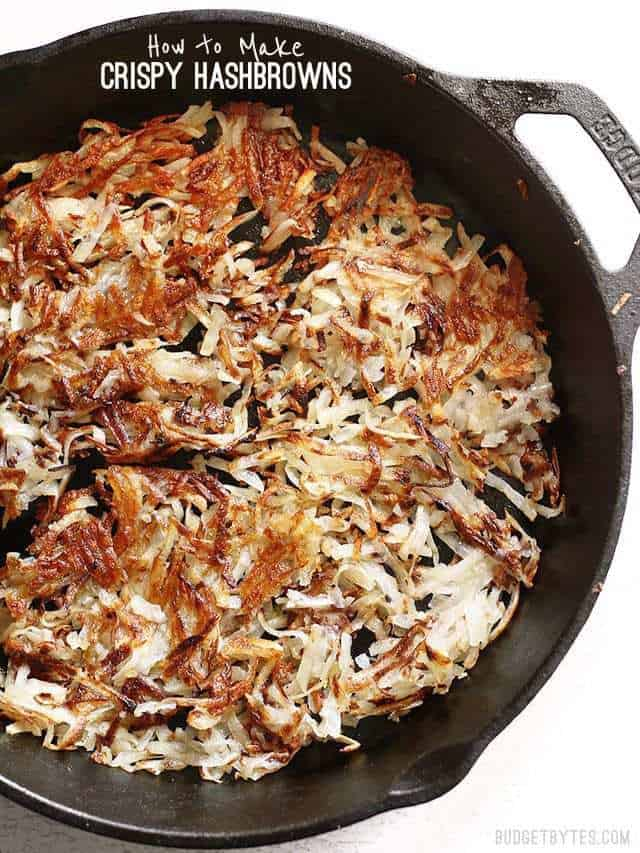 Crispy Hash Browns in cast iron skillet