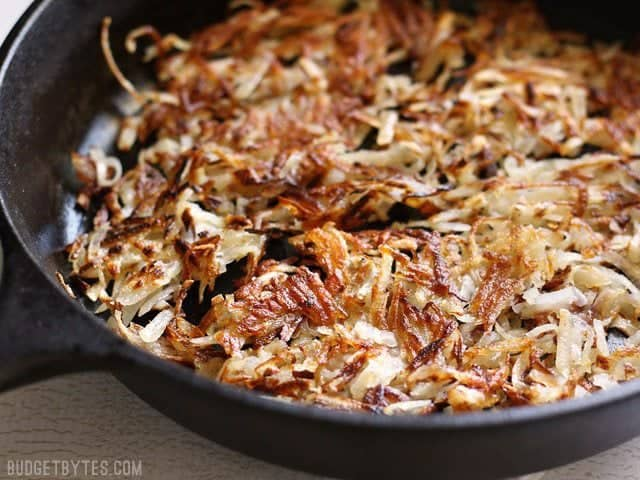 Close up of Crispy Hash Browns in skillet