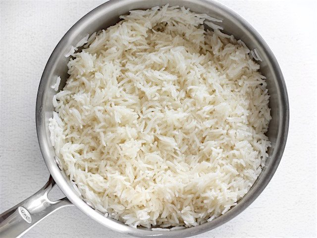 Finished Coconut Rice in the pot