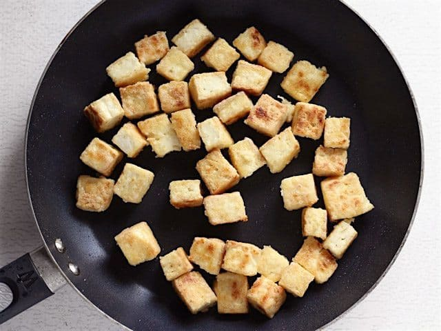 Fried Tofu in the skillet