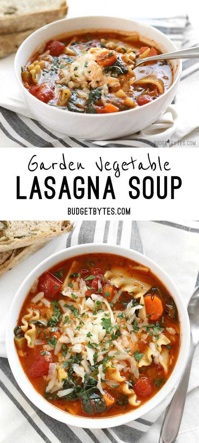 Garden Vegetable Lasagna Soup With A Colorful Vegetable Medley And A Melty  Three Cheese Ricotta Blend