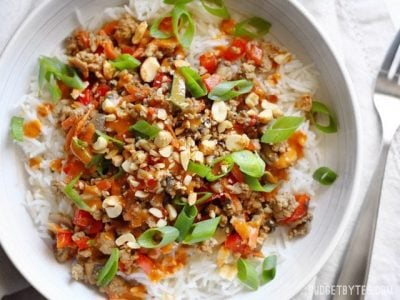 Hoisin Stir Fry Bowls with Spicy Peanut Sauce