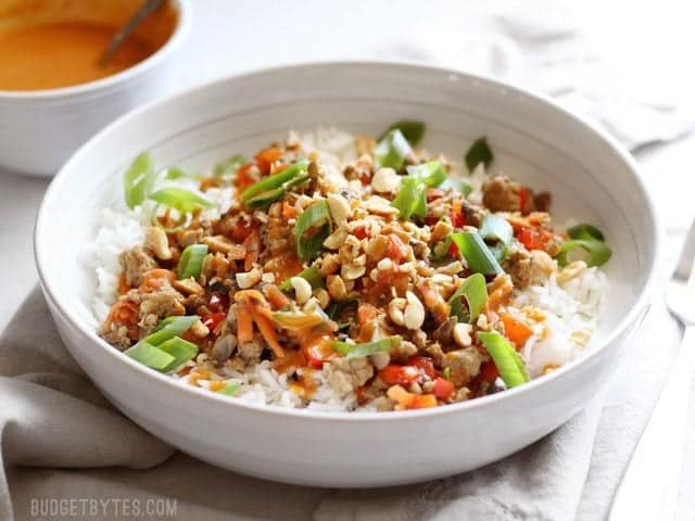 Side view of a bowl of hoisin stir fry served over rice and garnished with sliced green onion and chopped peanuts