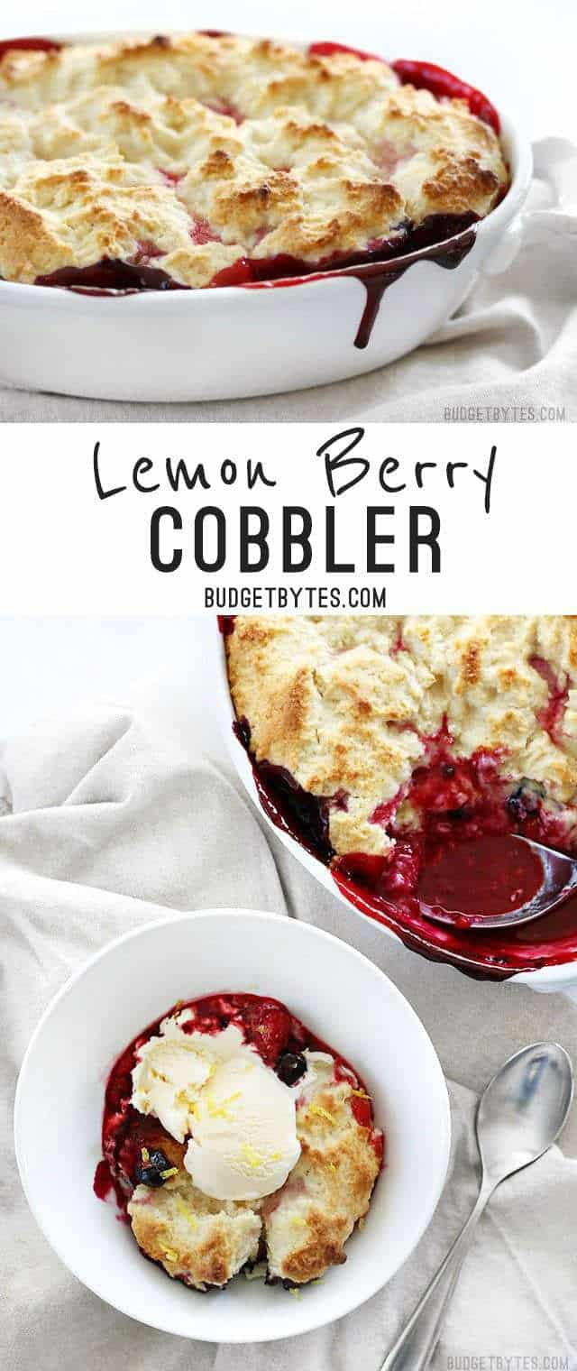 Lemon Berry Cobbler is the fastest and easiest way to sweet satisfaction - BudgetBytes.com