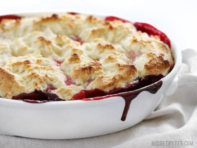 Lemon Berry Cobbler is the fastest and easiest way to sweet satisfaction - BudgetBytes.com baked
