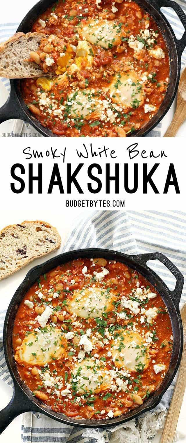 Smoky White Bean Shakshuka makes the BEST breakfast for dinner! BudgetBytes.com