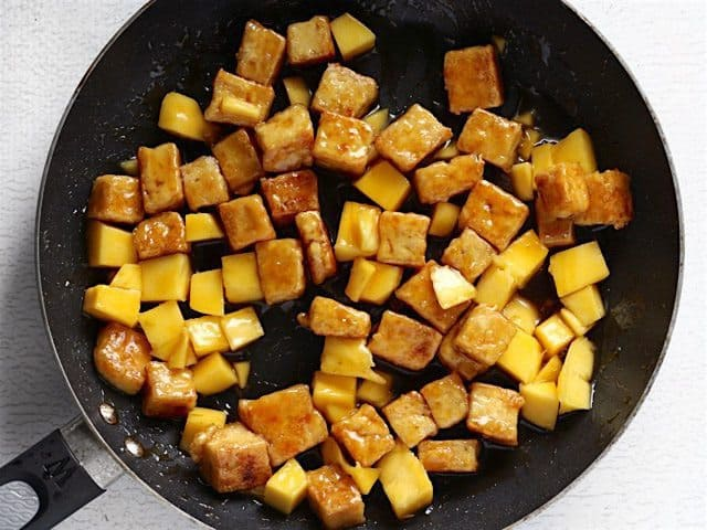 Tofu coated in the Mango Honey Lime Glaze