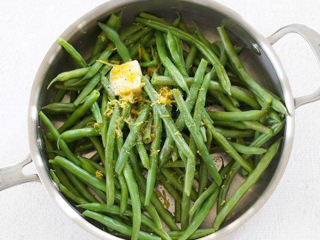 Add Butter, Salt, Pepper, and Lemon Zest to the green beans