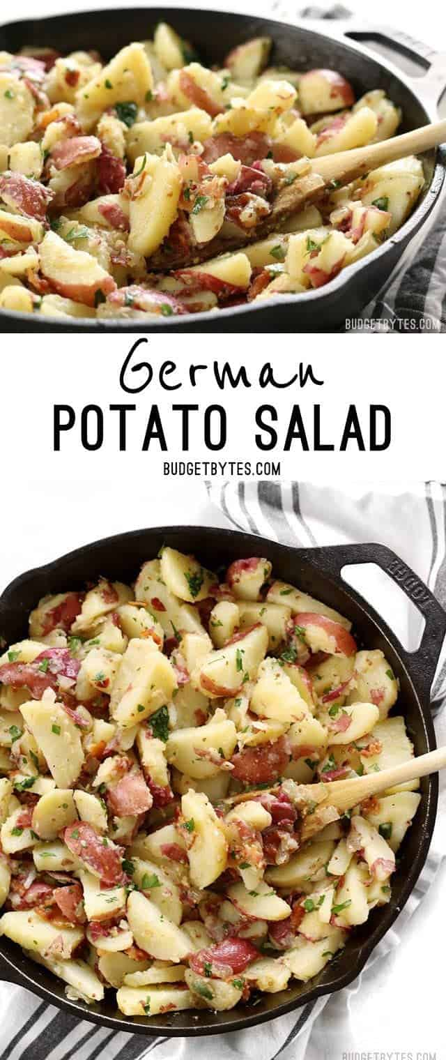 German Potato Salad is coated in a tangy bacon vinaigrette and is the perfect side for all your summer grilling. BudgetBytes.com