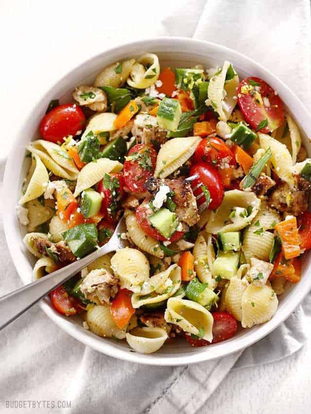 Greek Chicken Pasta Salad is the perfectly refreshing and filling summer meal. BudgetBytes.com