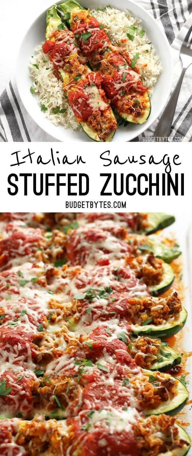 Italian Sausage Stuffed Zucchini is a simple, flavorful, and lighter alternative to lasagna. BudgetBytes.com