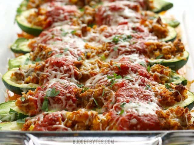 Front view of baked Italian Sausage Stuffed Zucchini