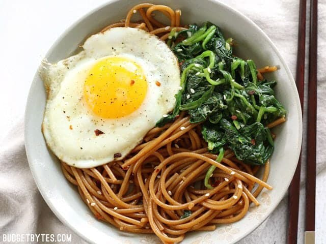Sesame Noodles with Wilted Greens - Budget Bytes