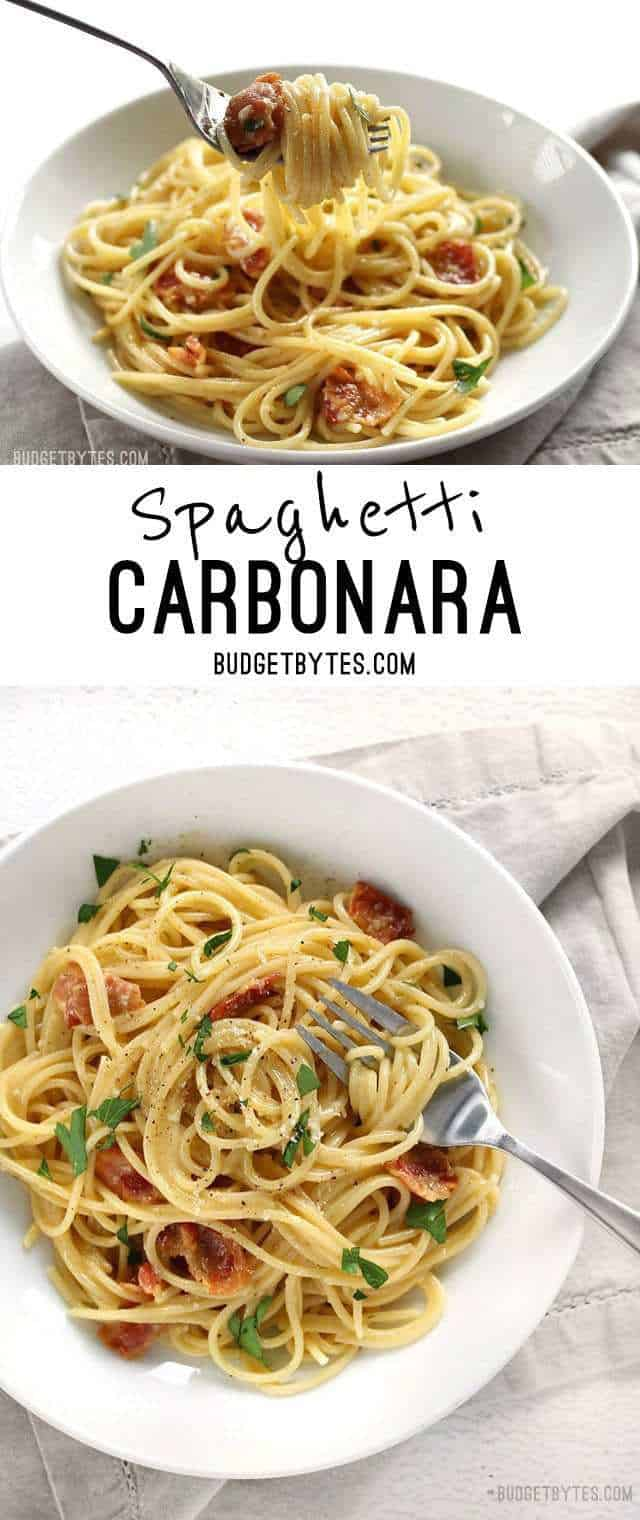 Spaghetti Carbonara is fast and easy dinner with just a few ingredients and a luxuriously creamy sauce. BudgetBytes.com