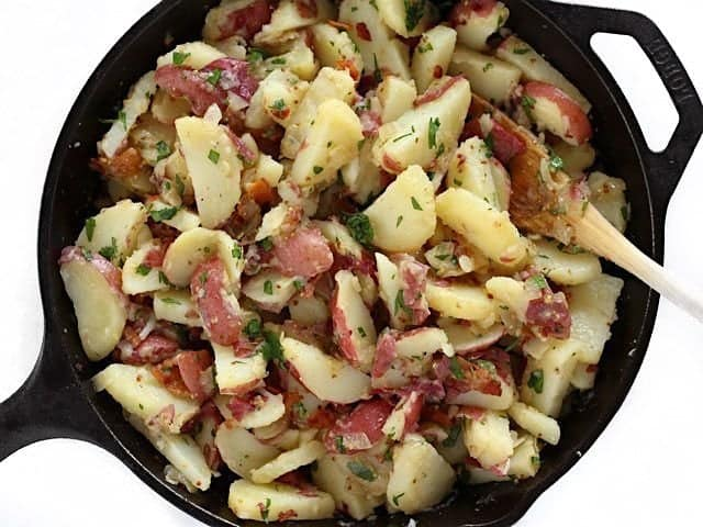 Finished German Potato Salad in the skillet