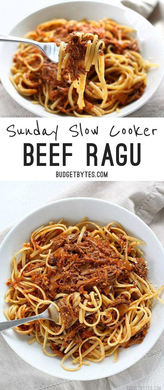 Sunday Slow Cooker Beef Ragù is freezer ready and features shredded beef in a deep savory tomato sauce. BudgetBytes.com