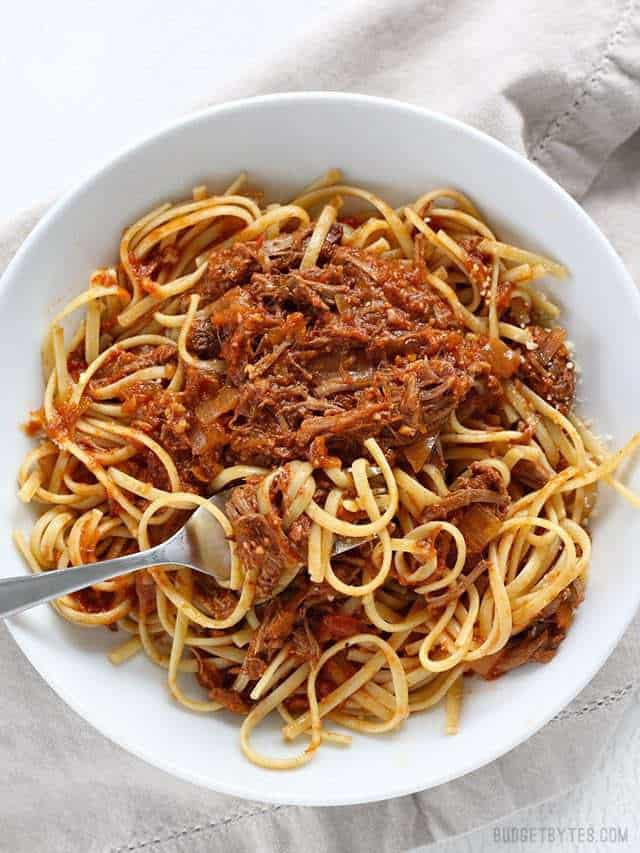 Top view of a plate of Sunday Slow Cooker Beef Ragù