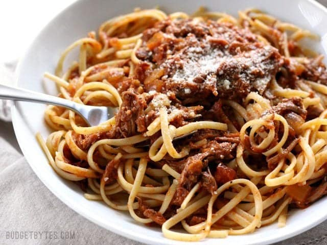 Close up of a plate of Sunday Slow Cooker Beef Ragù