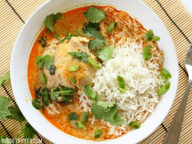 Thai Coconut Curry Braised Chicken Thighs are rich and bold in flavor, but fast and easy to prepare. BudgetBytes.com