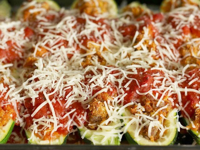 Stuffed Zucchini Topped with Cheese