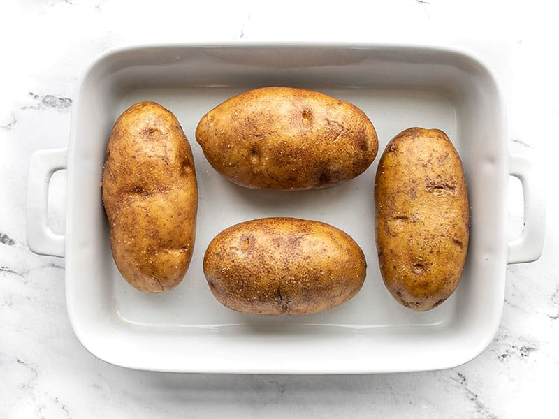 Prep russet potatoes for baking