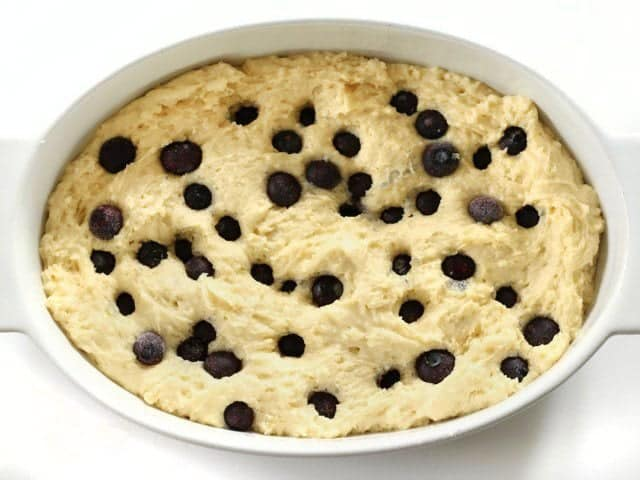 Add Blueberries to Coffee Cake batter in baking dish