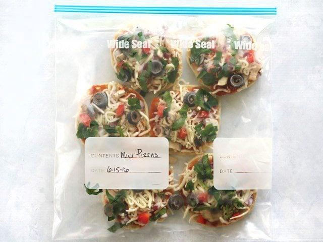 Freezer Ready Mini Pizzas packed in a freezer bag