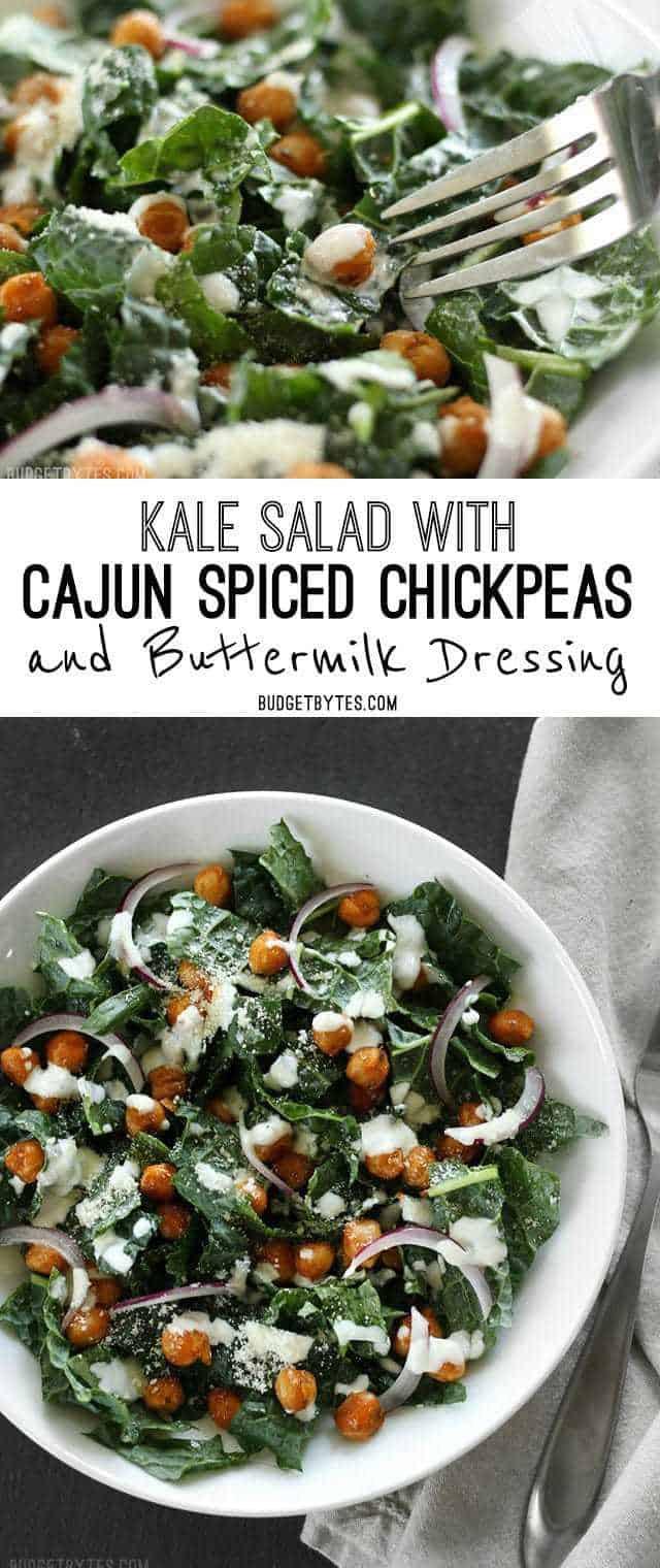 Kale Salad with Cajun Spiced Chickpeas and Buttermilk Dressing. BudgetBytes.com