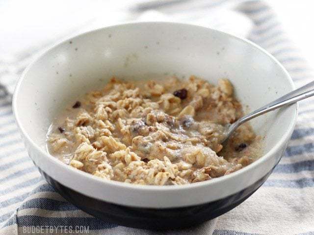 Front view of a bowl full of No Sugar Added Apple Pie Overnight Oats