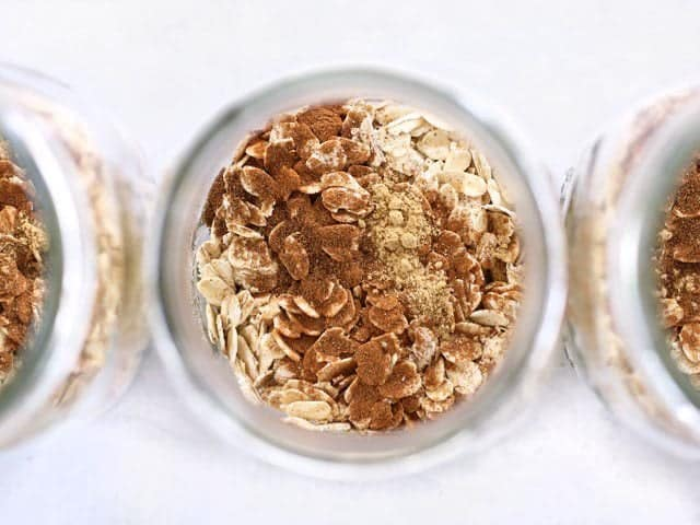 Oats and Spices in the mason jar, viewed from above