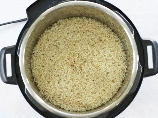 Pressure Cooked Rice in Chicken Broth