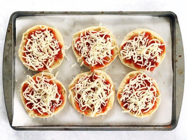Sauce and Cheese on English Muffins