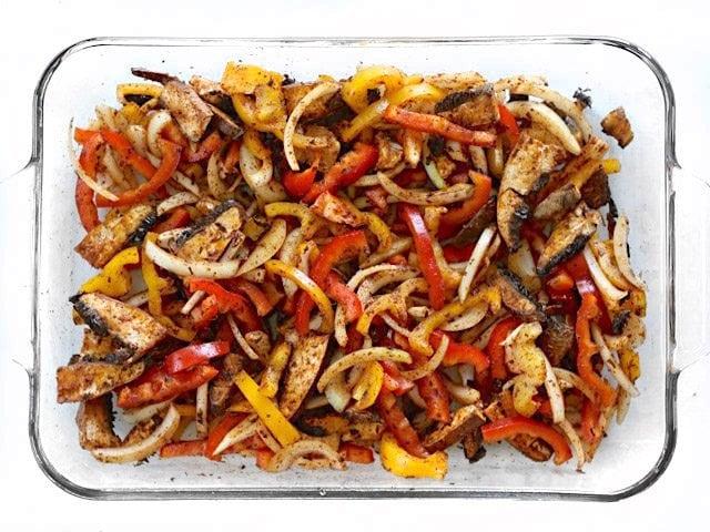 Seasoned Fajita Vegetables in the casserole dish