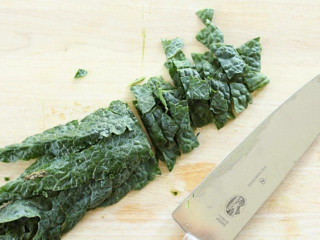 Lacinato kale sliced into strips