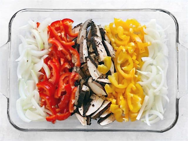 Sliced Vegetables in a glass casserole dish
