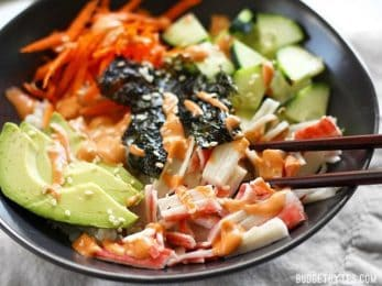 Sushi Bowls are a fast, easy, and inexpensive alternative to your favorite sushi bar. BudgetBytes.com