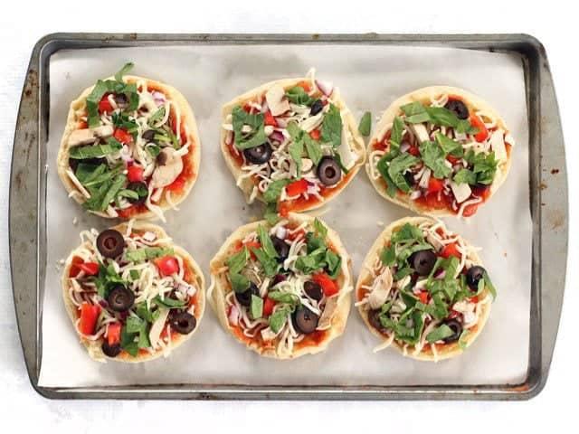 Topped mini pizzas