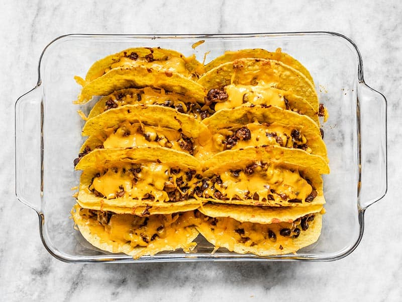 Baked tacos with melted cheese
