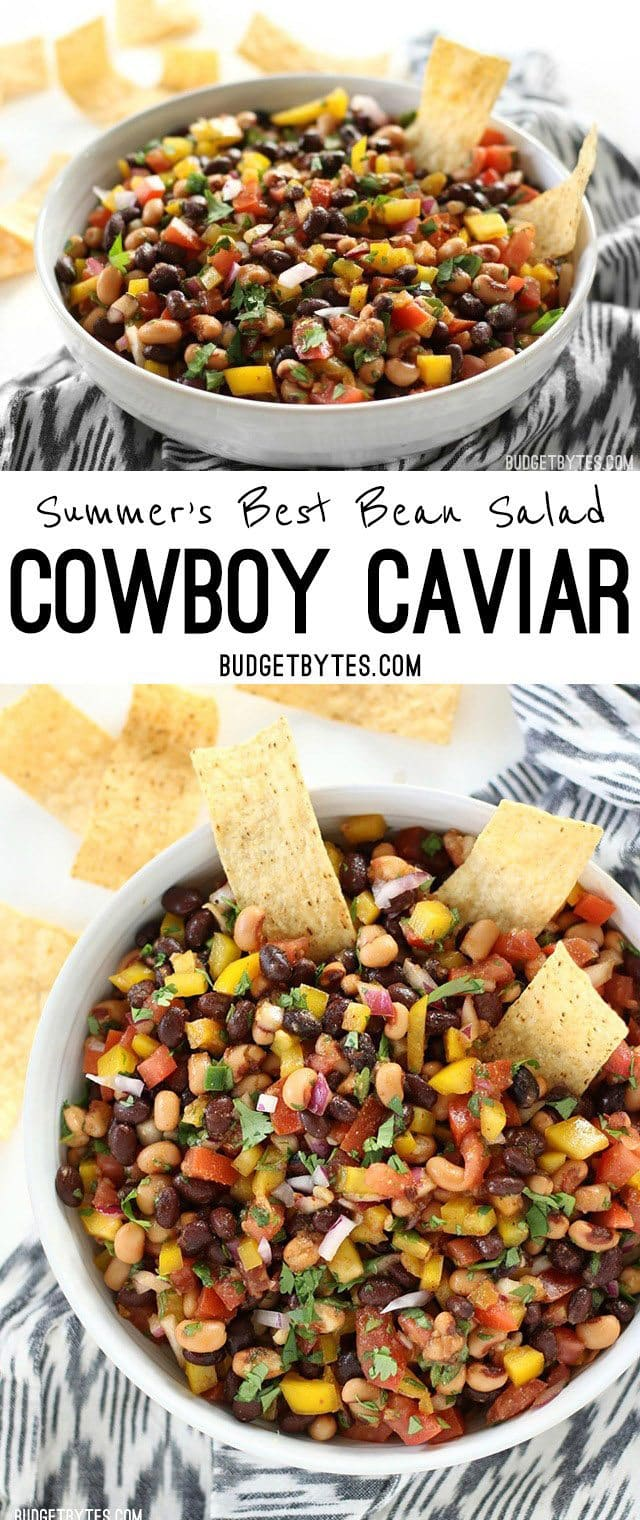 Cowboy Caviar is like a cross between a bean salad and fresh salsa with its colorful mix of beans, vegetables, and a fresh lime infused dressing. BudgetBytes.com