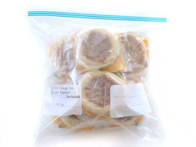 Freezer Breakfast Sandwiches packed into a gallon-sized freezer bag.