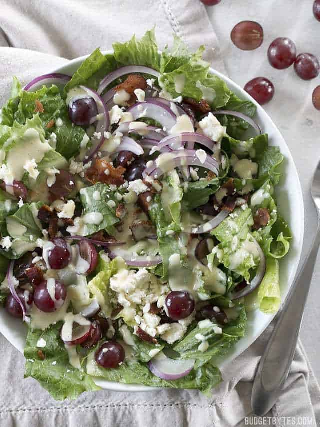Top view of a plate of Grape Feta and Bacon Salad