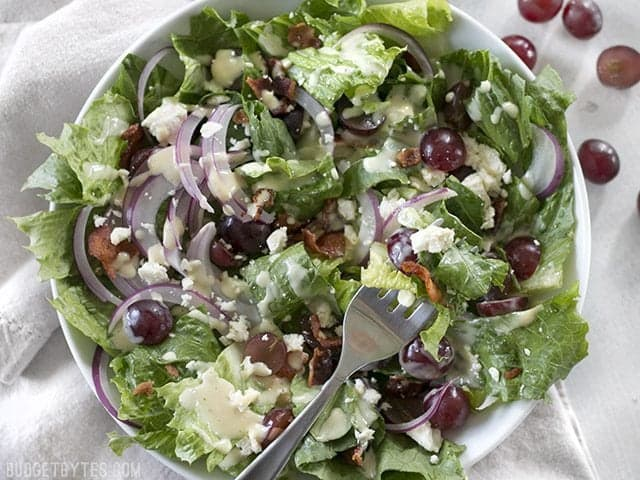 Top view of a plate of Grape Feta and Bacon Salad with a fork