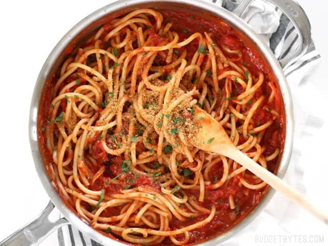 Pasta with 5 Ingredient Butter Tomato Sauce uses simple ingredients to make an elegant meal. BudgetBytes.com