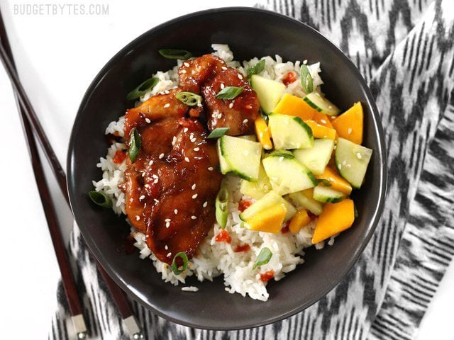 Sticky Ginger Soy Glazed Chicken features and simple marinade that turns into a sticky and delicious glaze. BudgetBytes.com