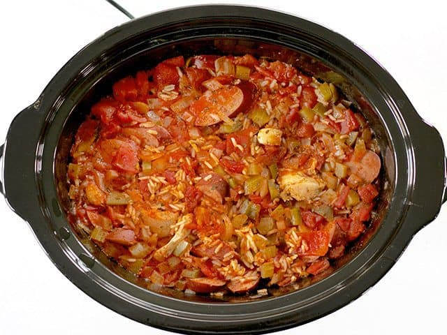Cooked dish in slow cooker